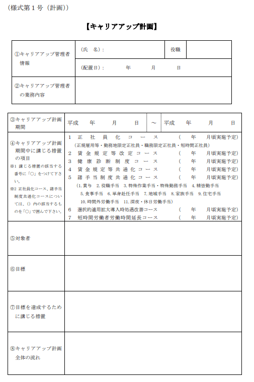 記入 キャリア プラン 例 シート